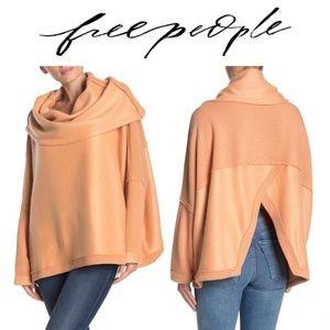 Free People Huntington Oversized Pullover Orange M